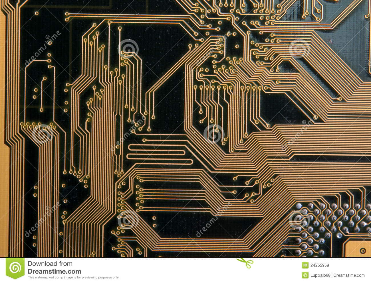 Circuit Board And Integrated Circuits Stock Photo