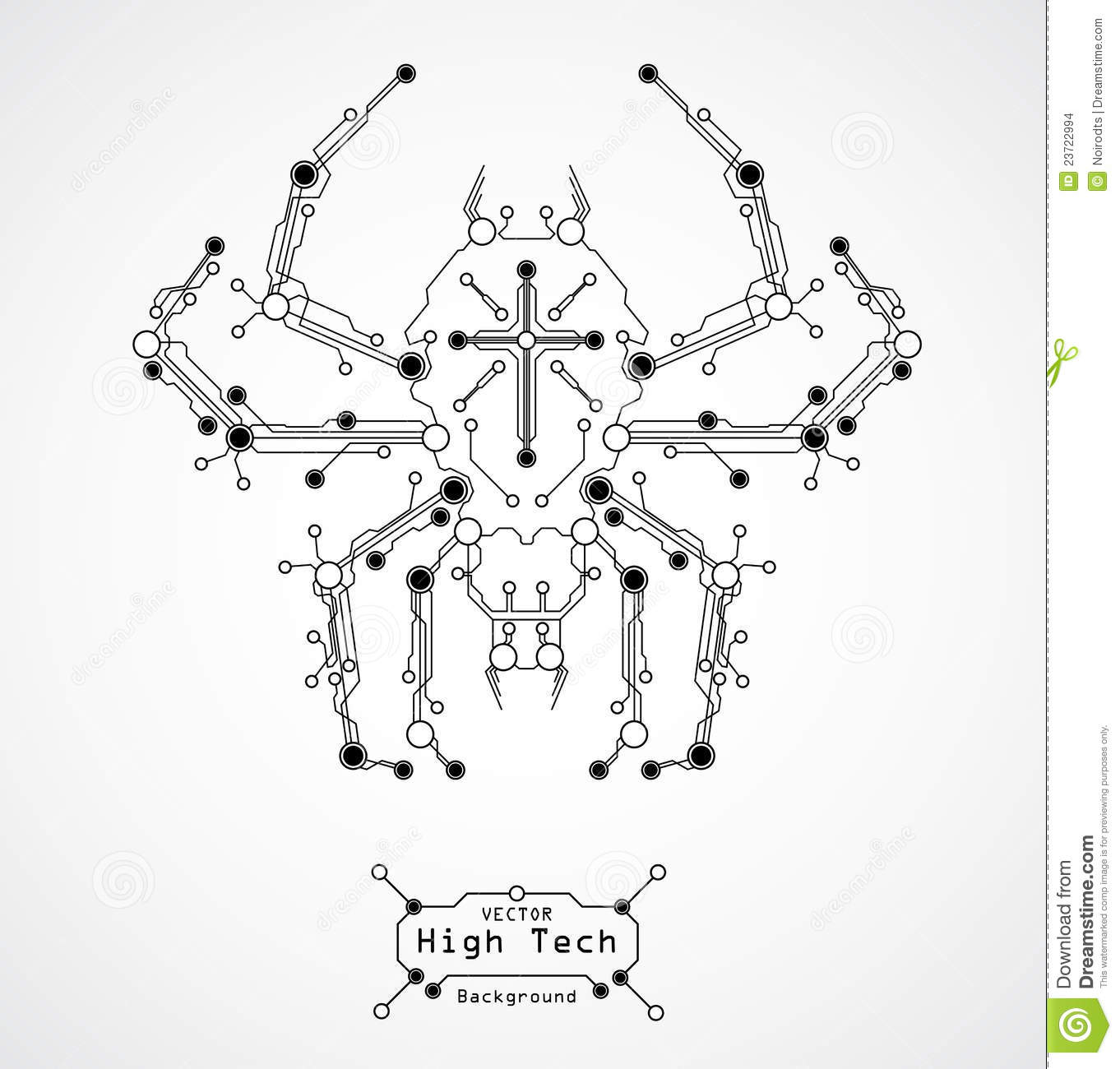 Circuit Board Spider Background Stock Vector