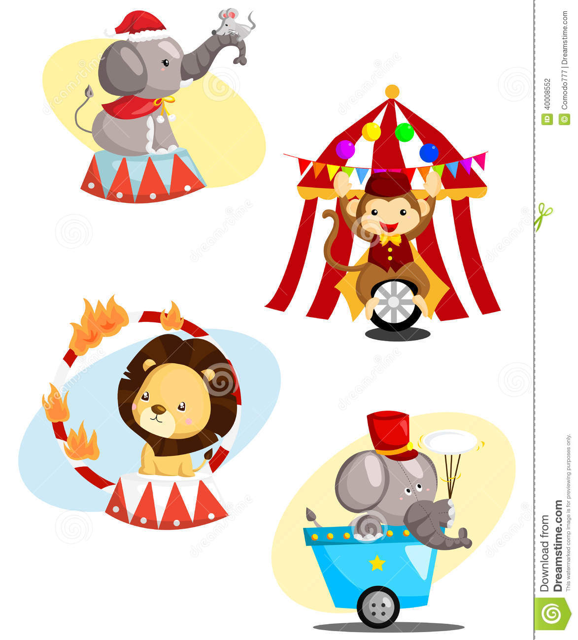 Circus Carnival Animal Vector Set Stock Vector
