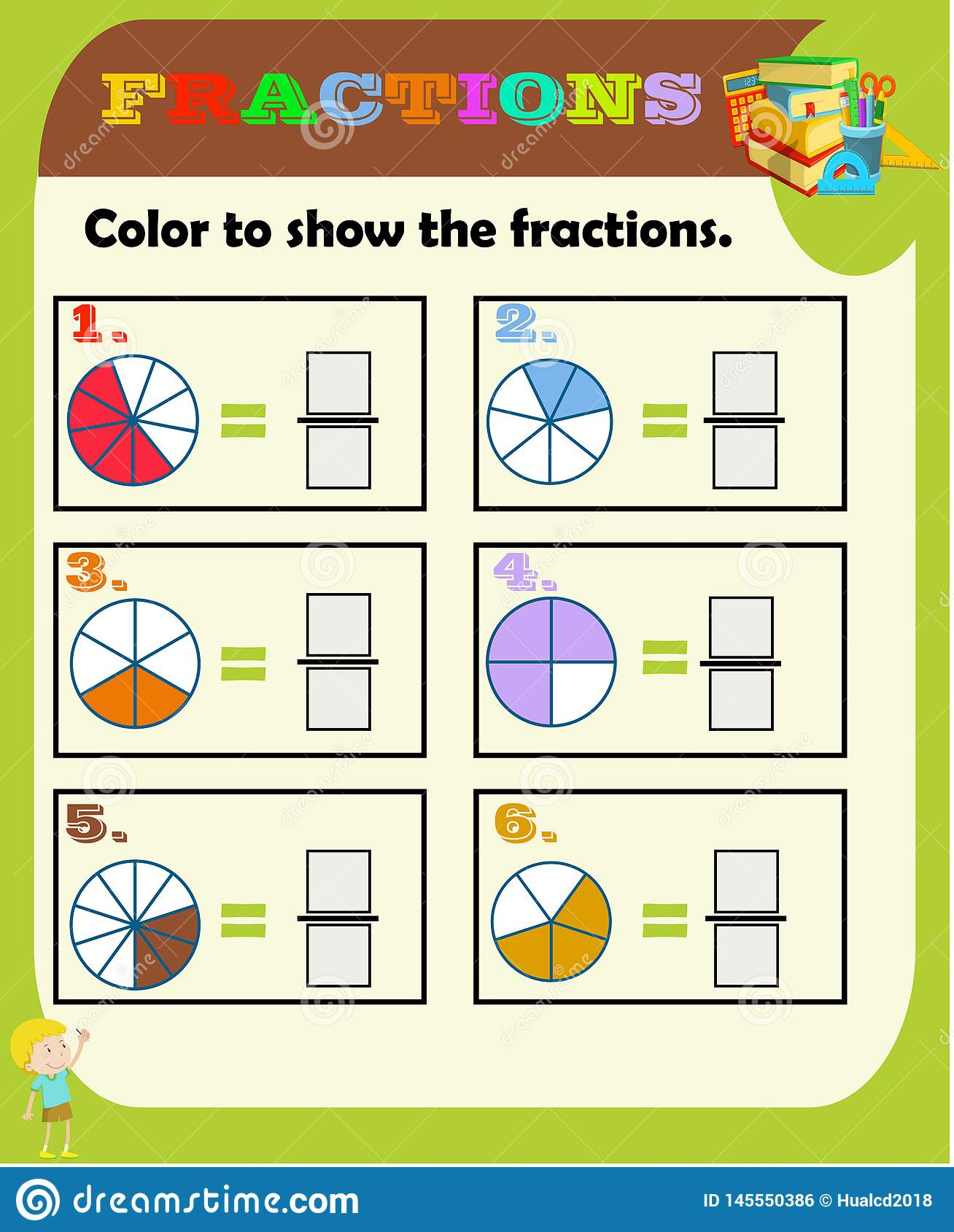 Circle The Correct Fraction Mathematics Math Worksheet