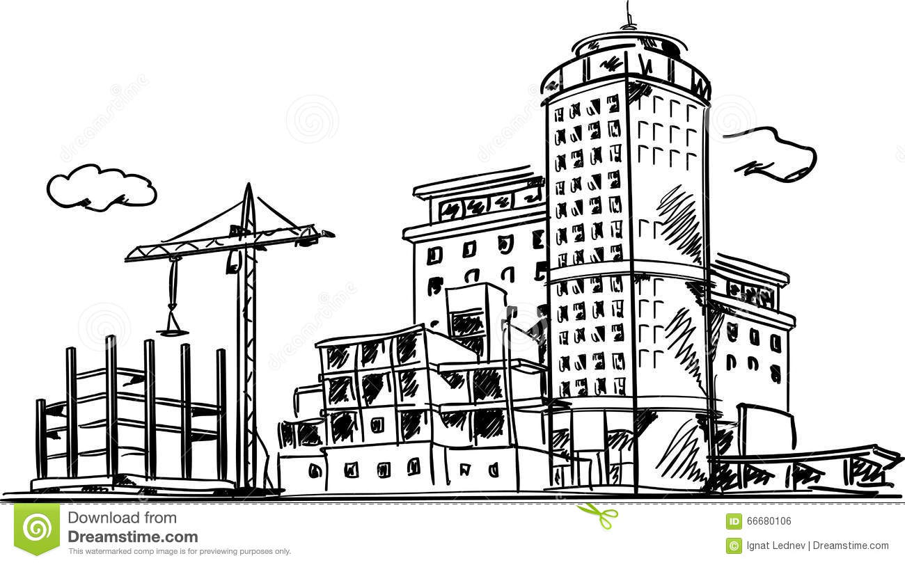 City Construction Sketch Stock Vector Illustration Of