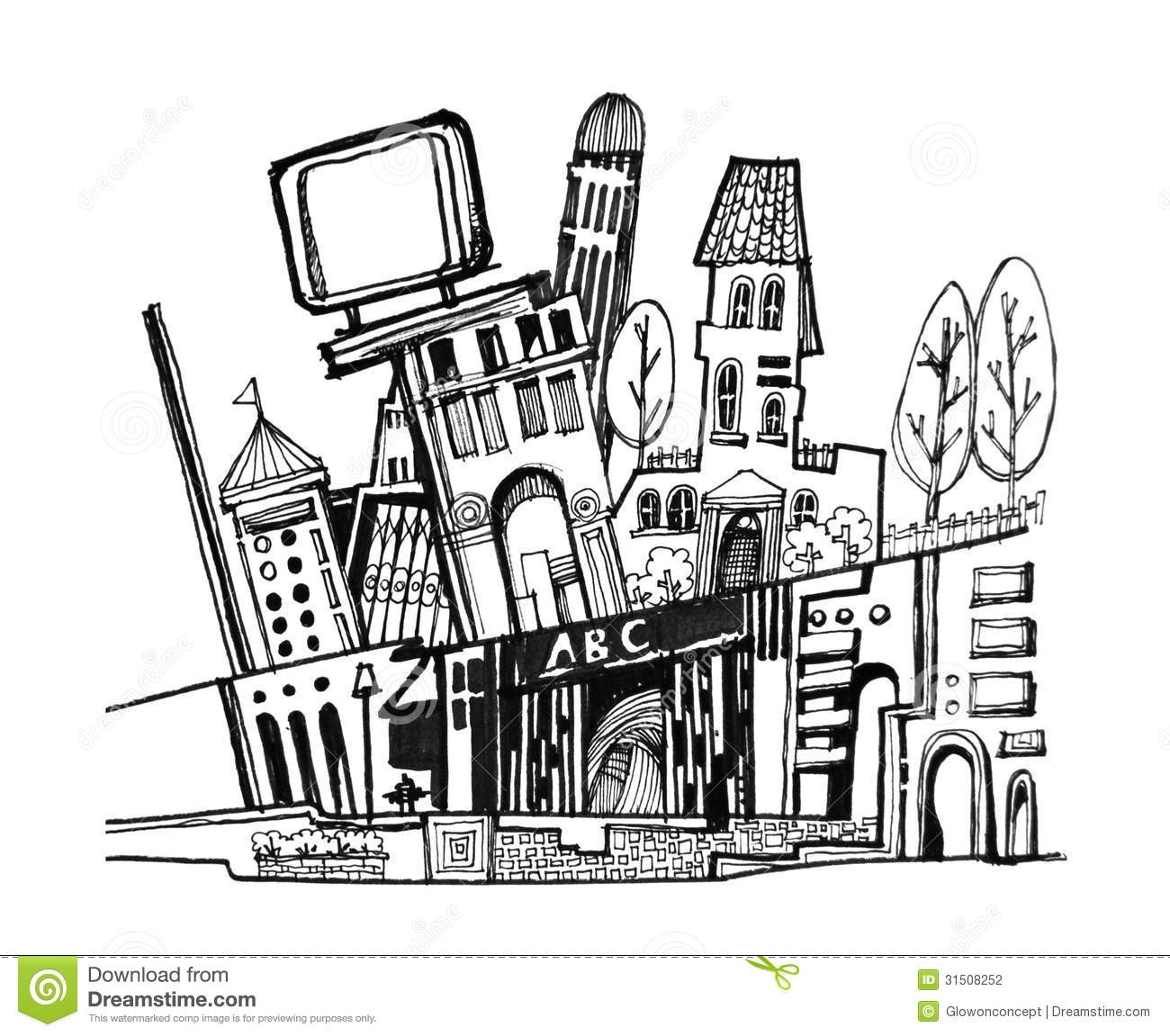 City Graphic Cartoon Illustration Stock Photography