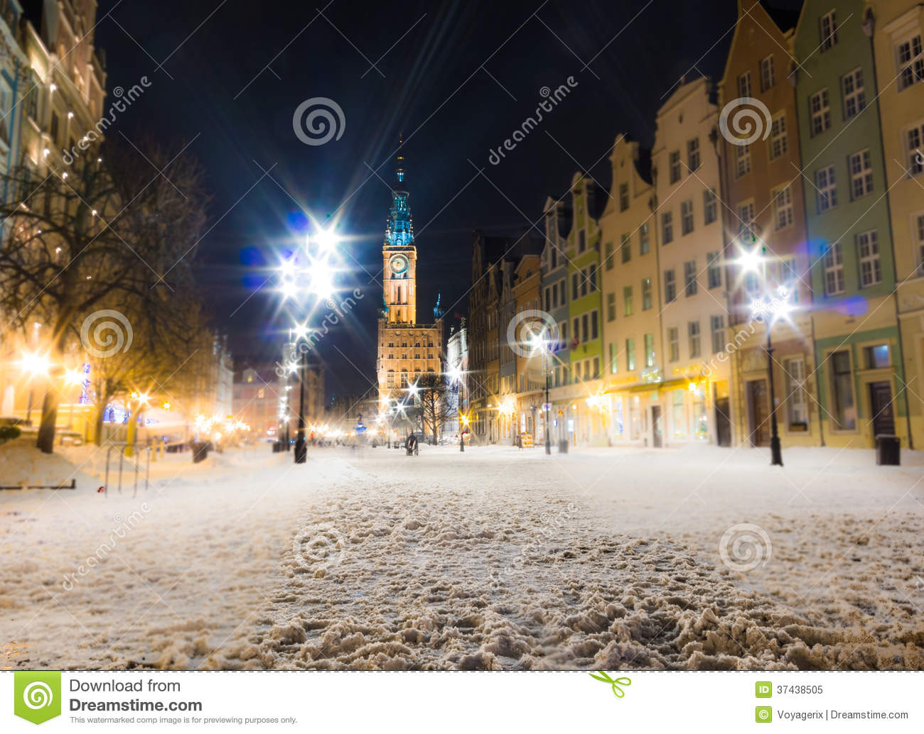 City Hall Old Town Gdansk Poland Europe Winter Night
