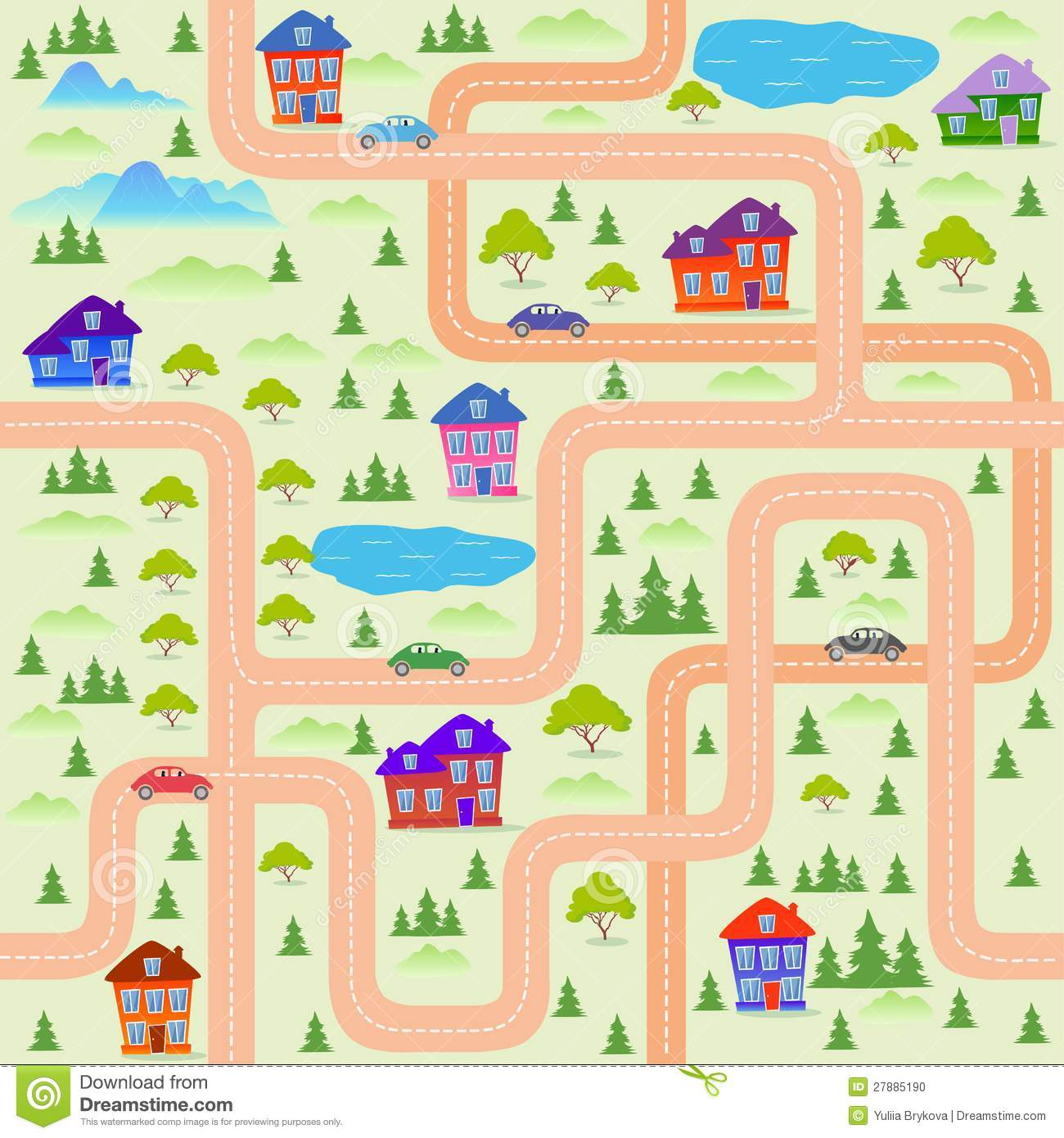 City Map Stock Vector Illustration Of House Vector