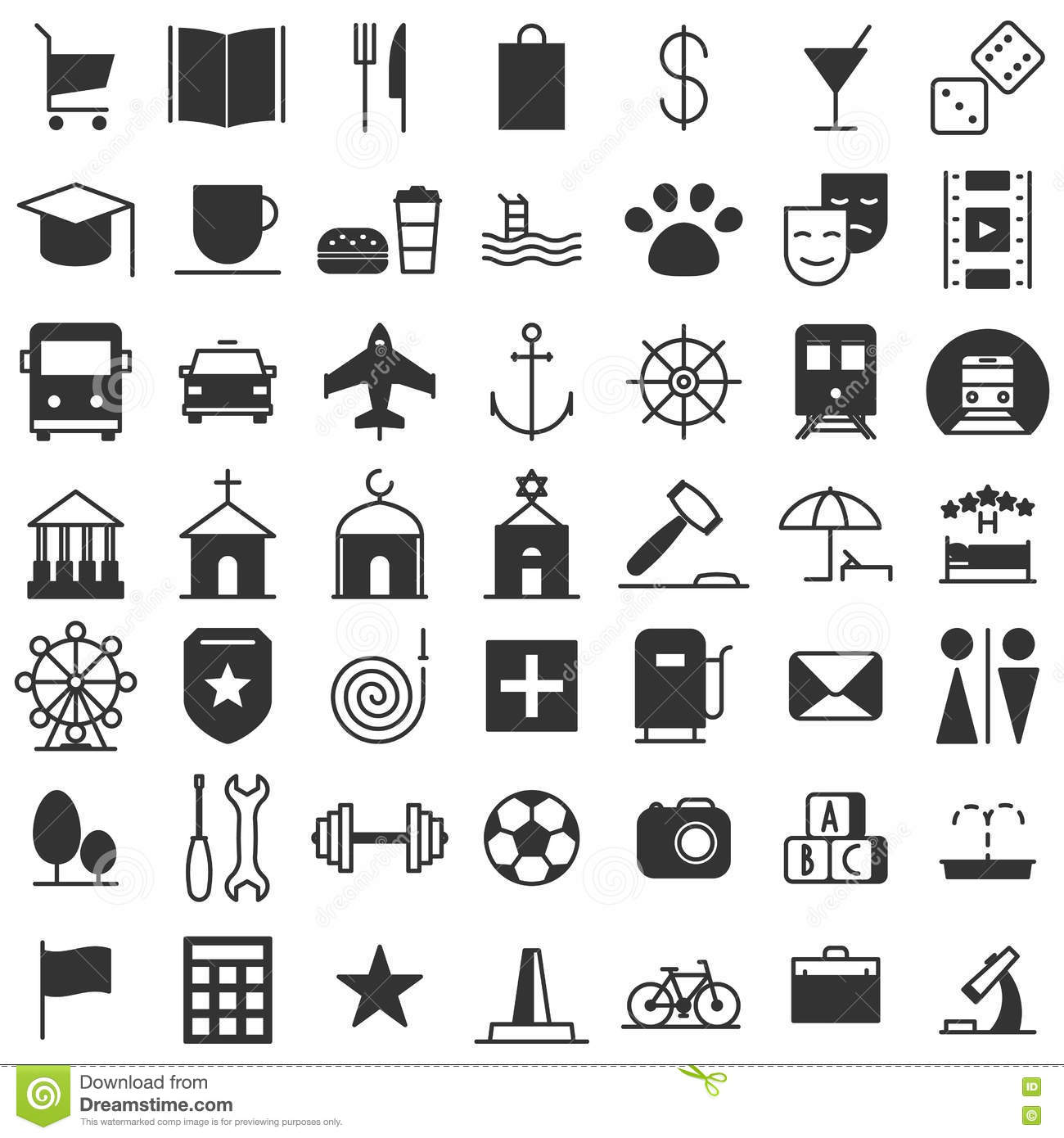 City Map Icons Set Stock Vector Illustration Of City