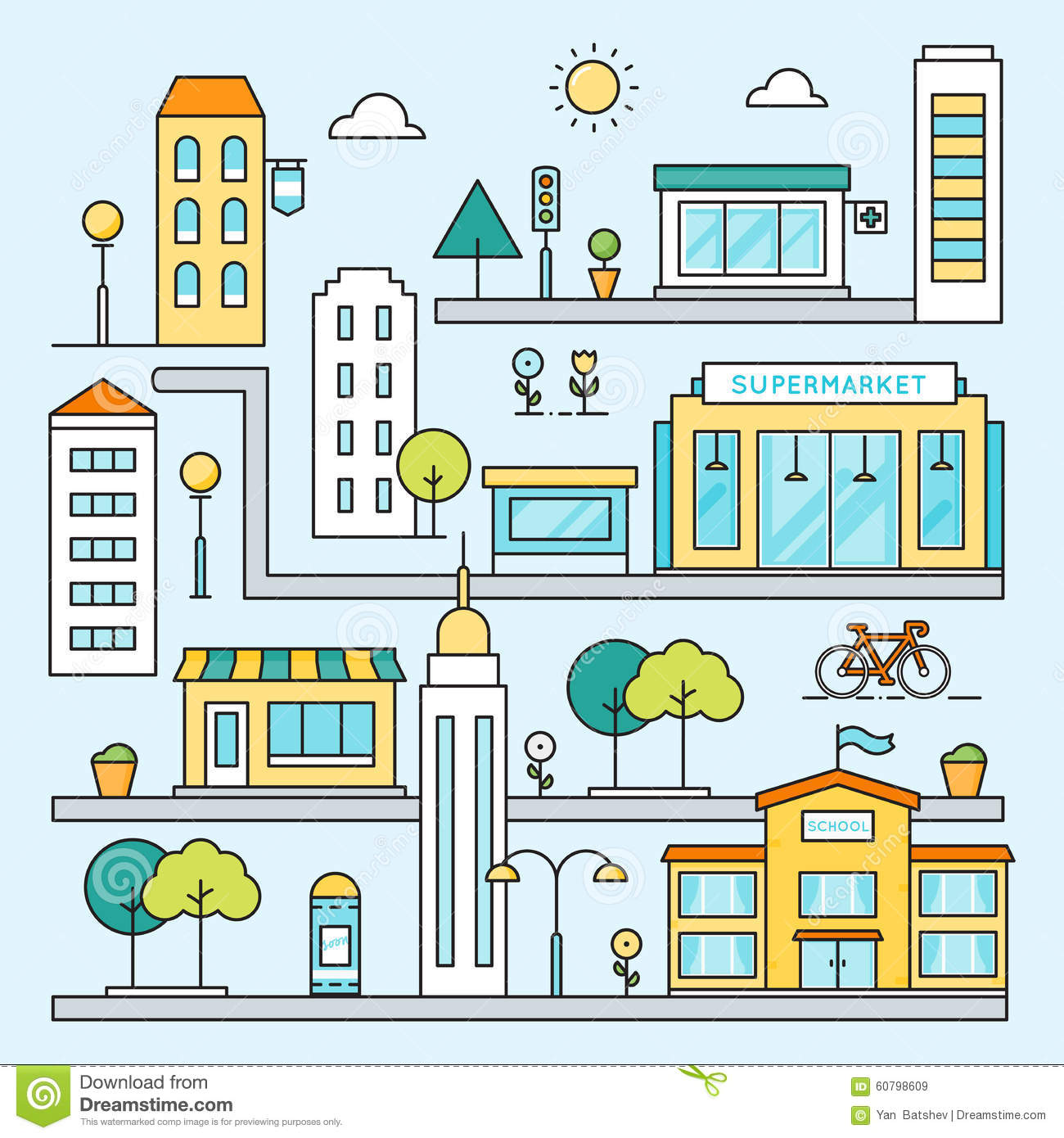 City Map With Streets Buildings And Places Vector Outline