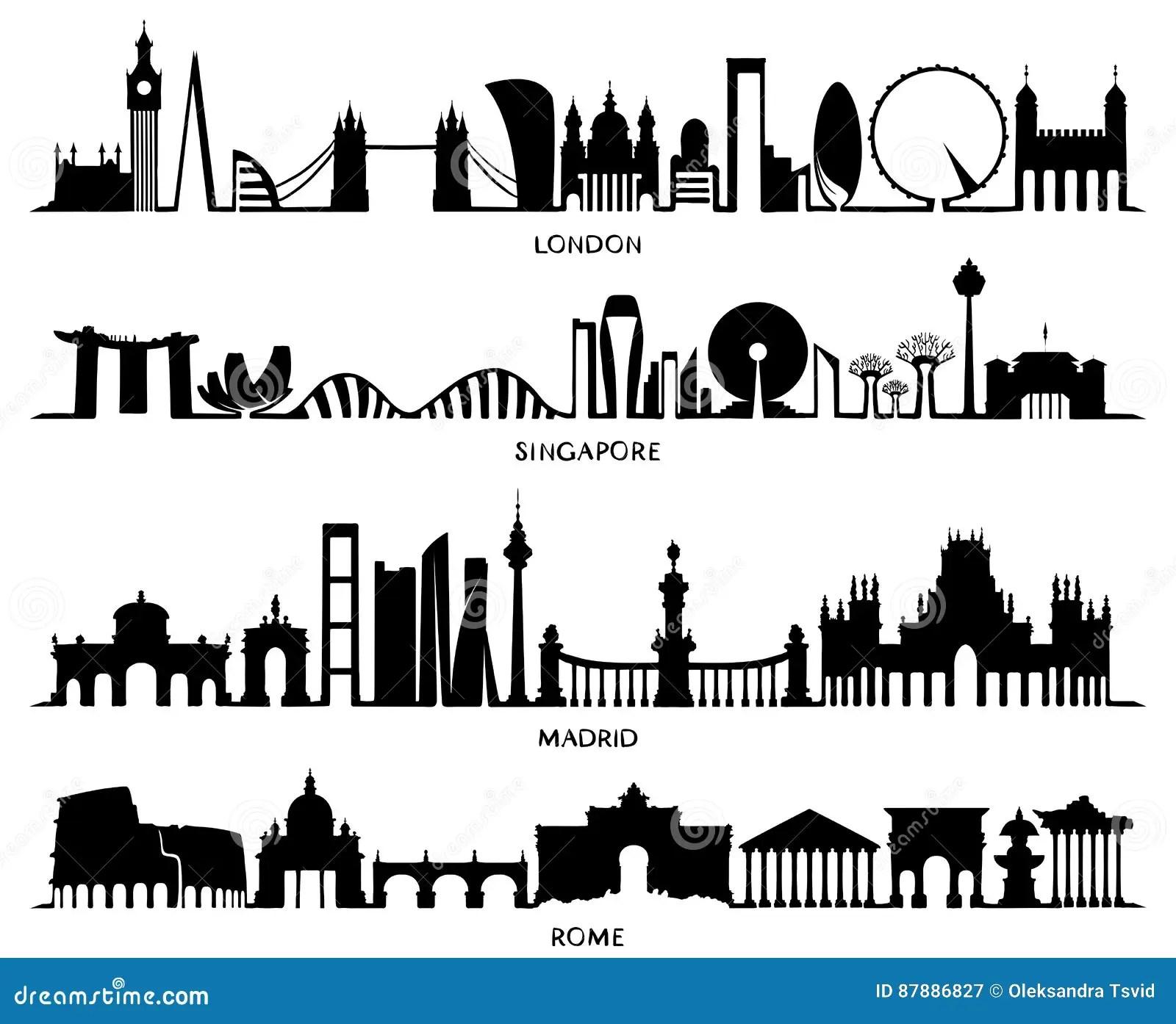 City Silhouette London Singapore Madrid Rome Stock