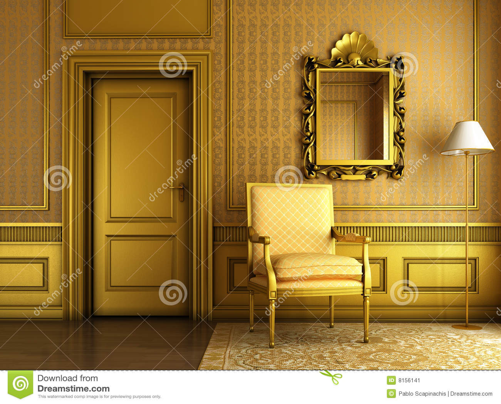 Classic Golden Interior Stock Illustration Image Of