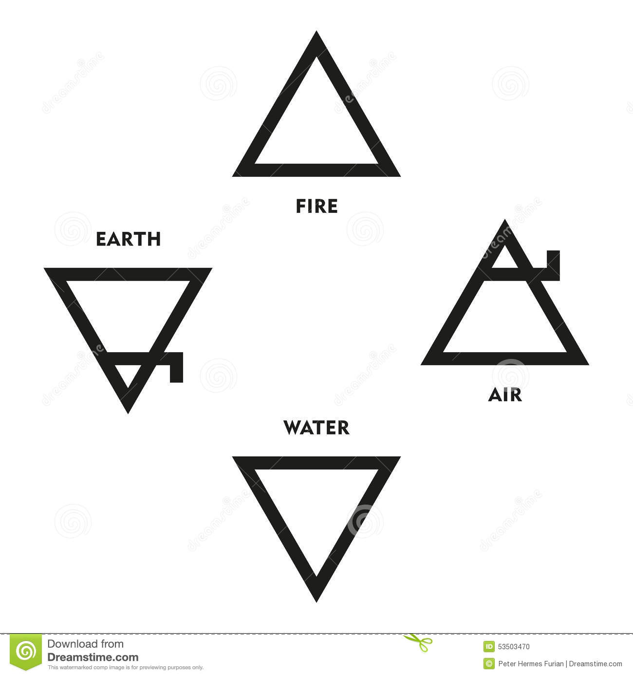 Classical Four Elements Symbols Of Me Val Alchemy Stock