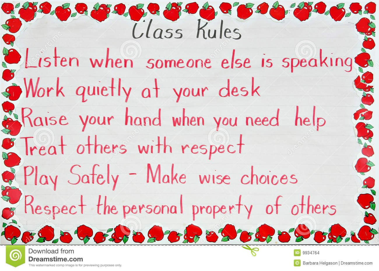 Classroom Rules Stock Images