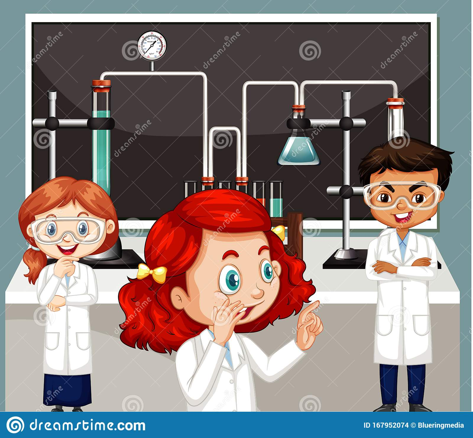 Classroom Scene With Three Science Students Doing Lab