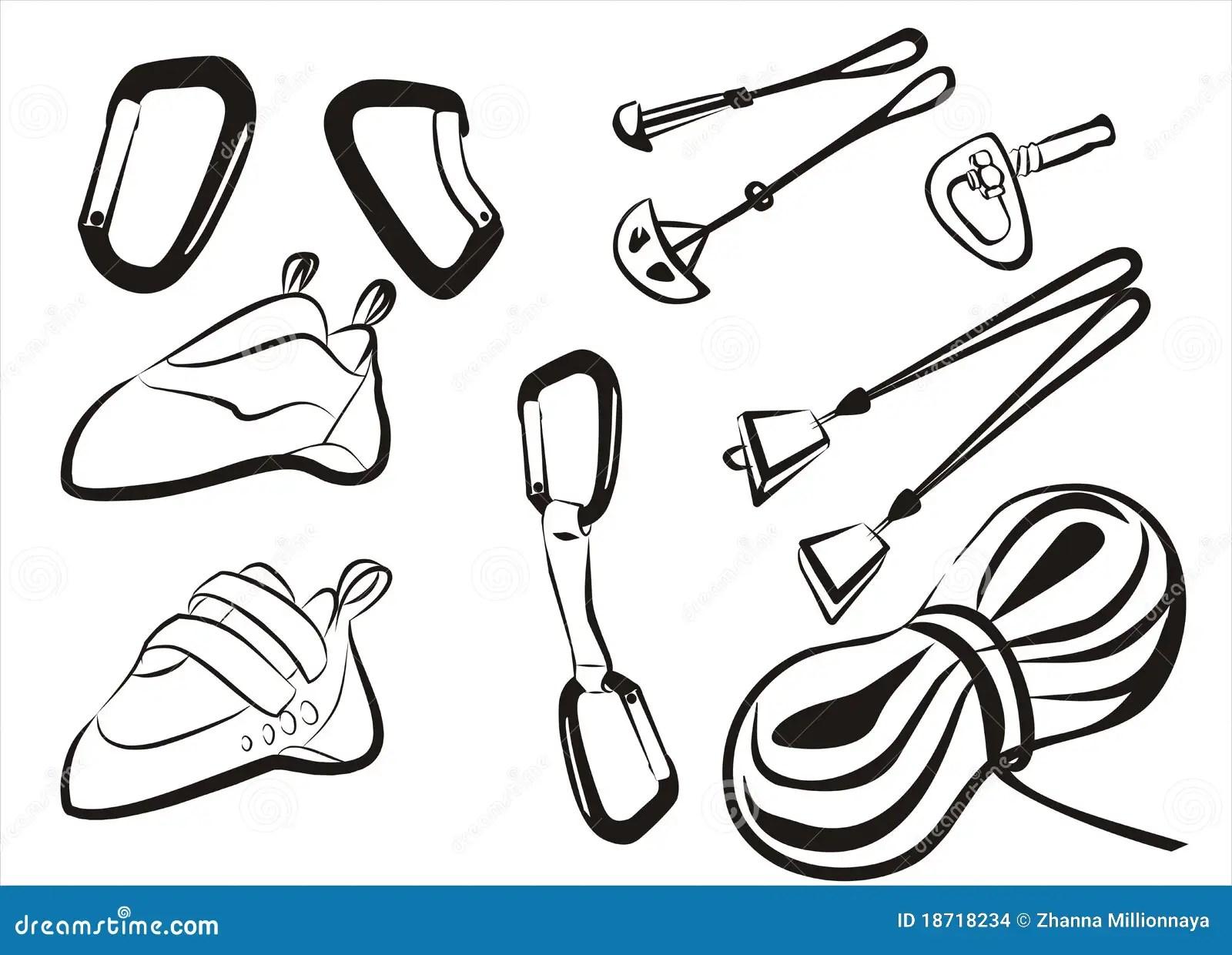 Climbing Equipment Goods And Stuff Stock Vector