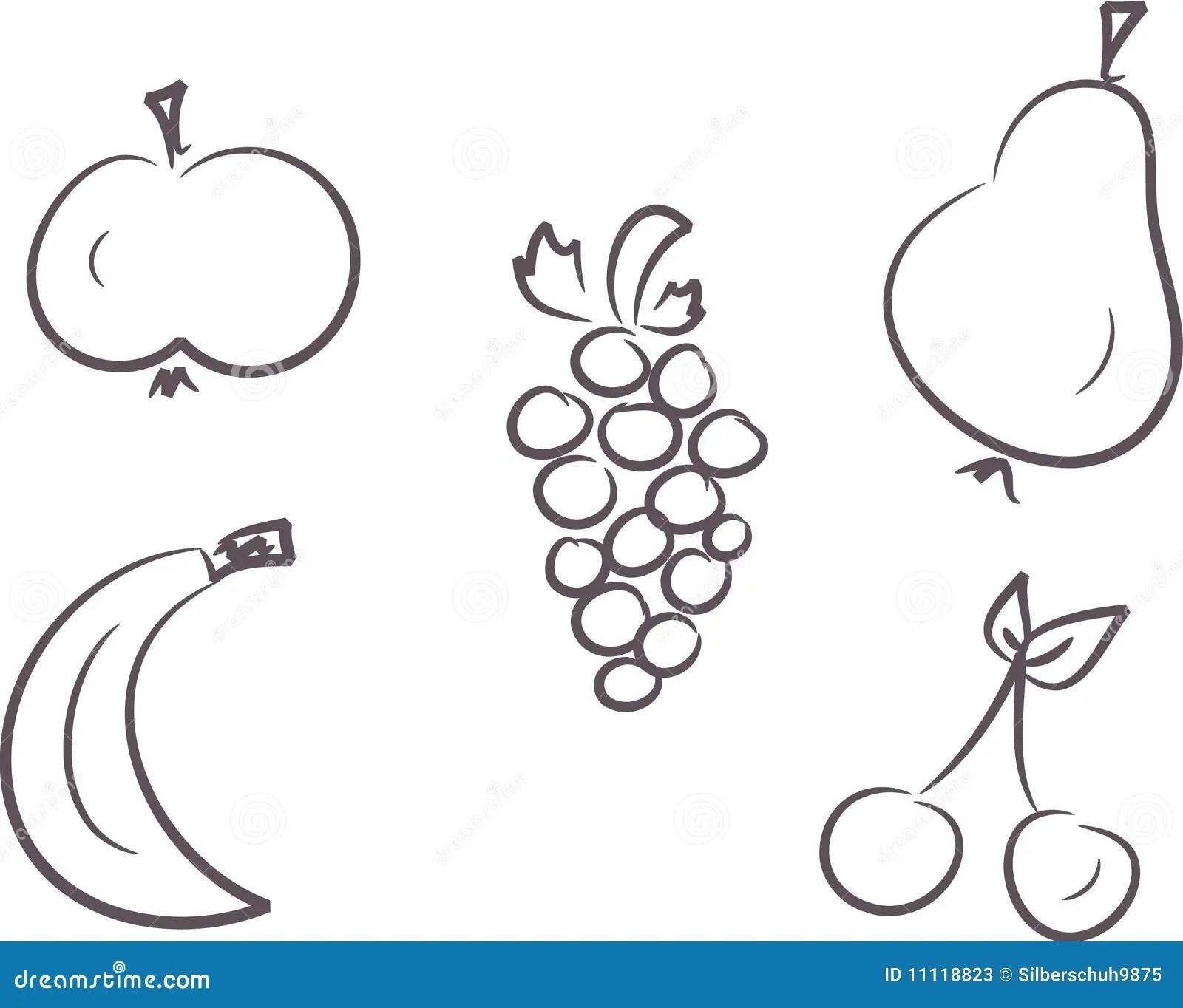 Clip Art Set Fruits Stock Photos