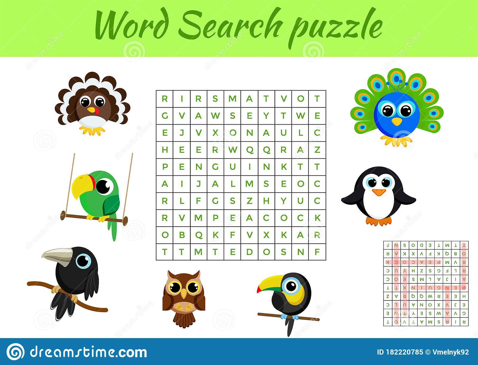 Clip Cards Game Template Word Search Puzzle Kids Activity
