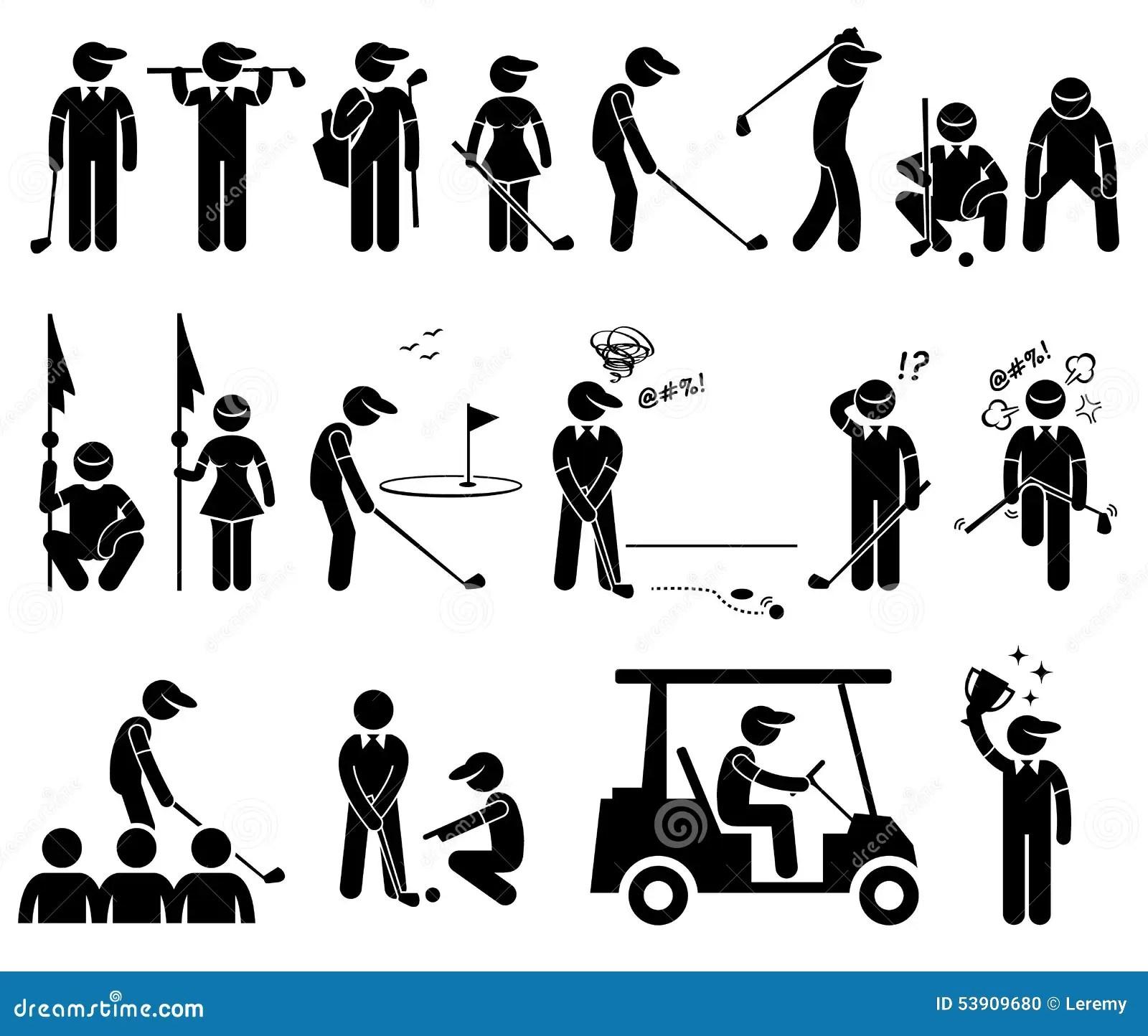 Clipart Di Pose Di Azioni Del Giocatore Di Golf