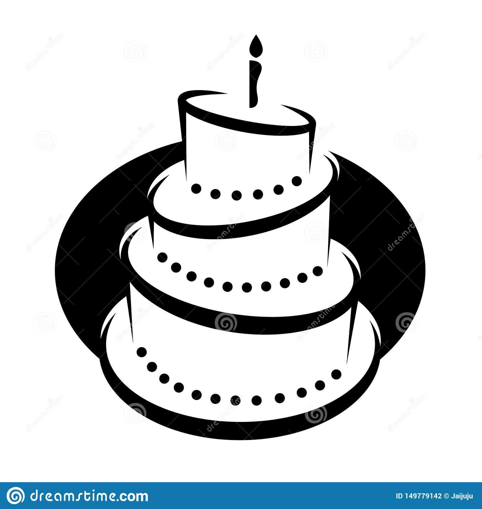 Clipart Illustration Of A Black And White Tiered Birthday Cake With Candles On Oval Vector Design Stock Vector Illustration Of Contour Bakery 149779142