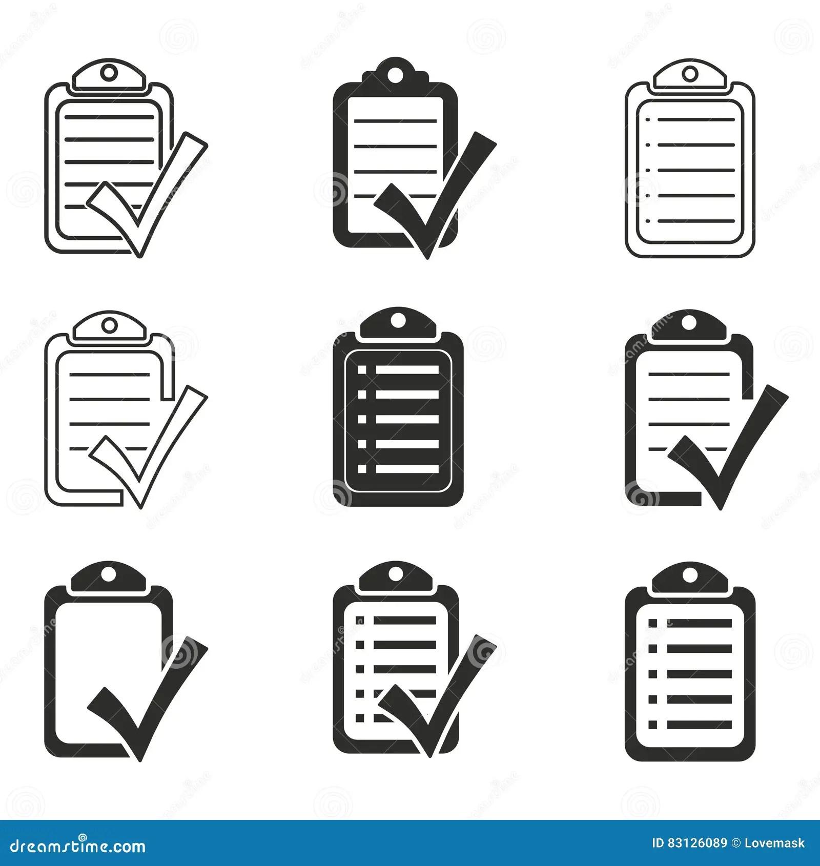Clipboard Icon Set Cartoon Vector