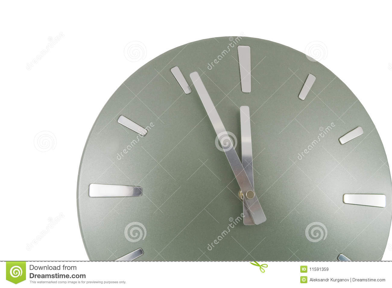 Clock 5 Min To 12 Over White Royalty Free Stock Images