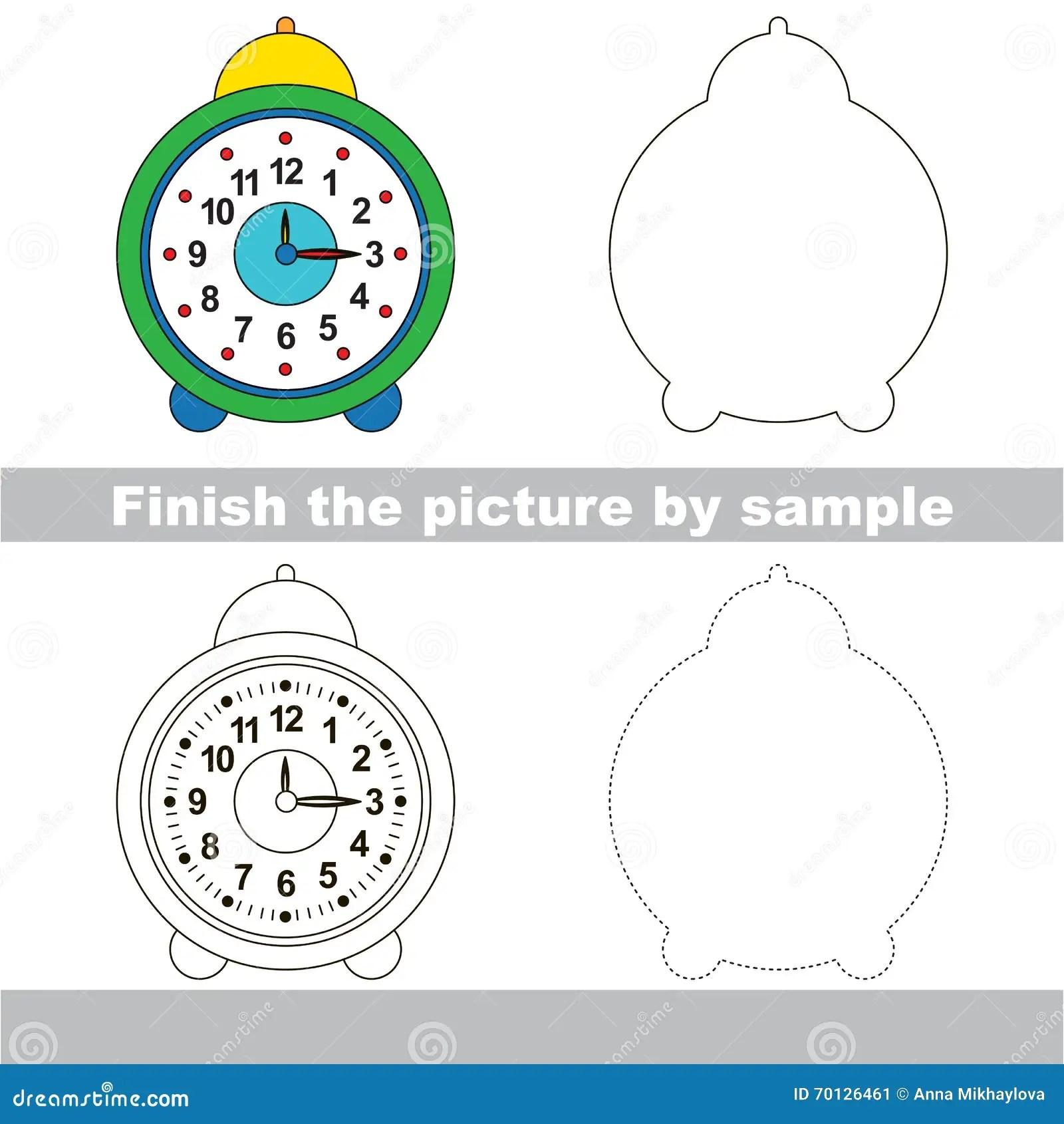Clock Drawing Worksheet Stock Vector Illustration Of
