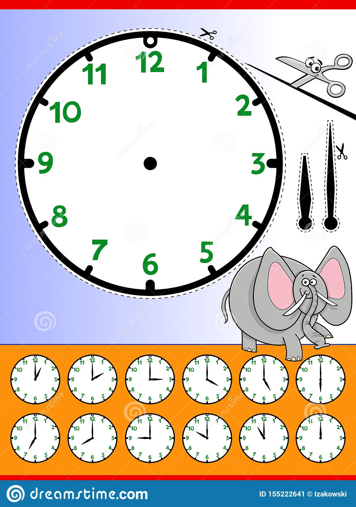 Clock Face Cartoon Educational Worksheet Stock Vector