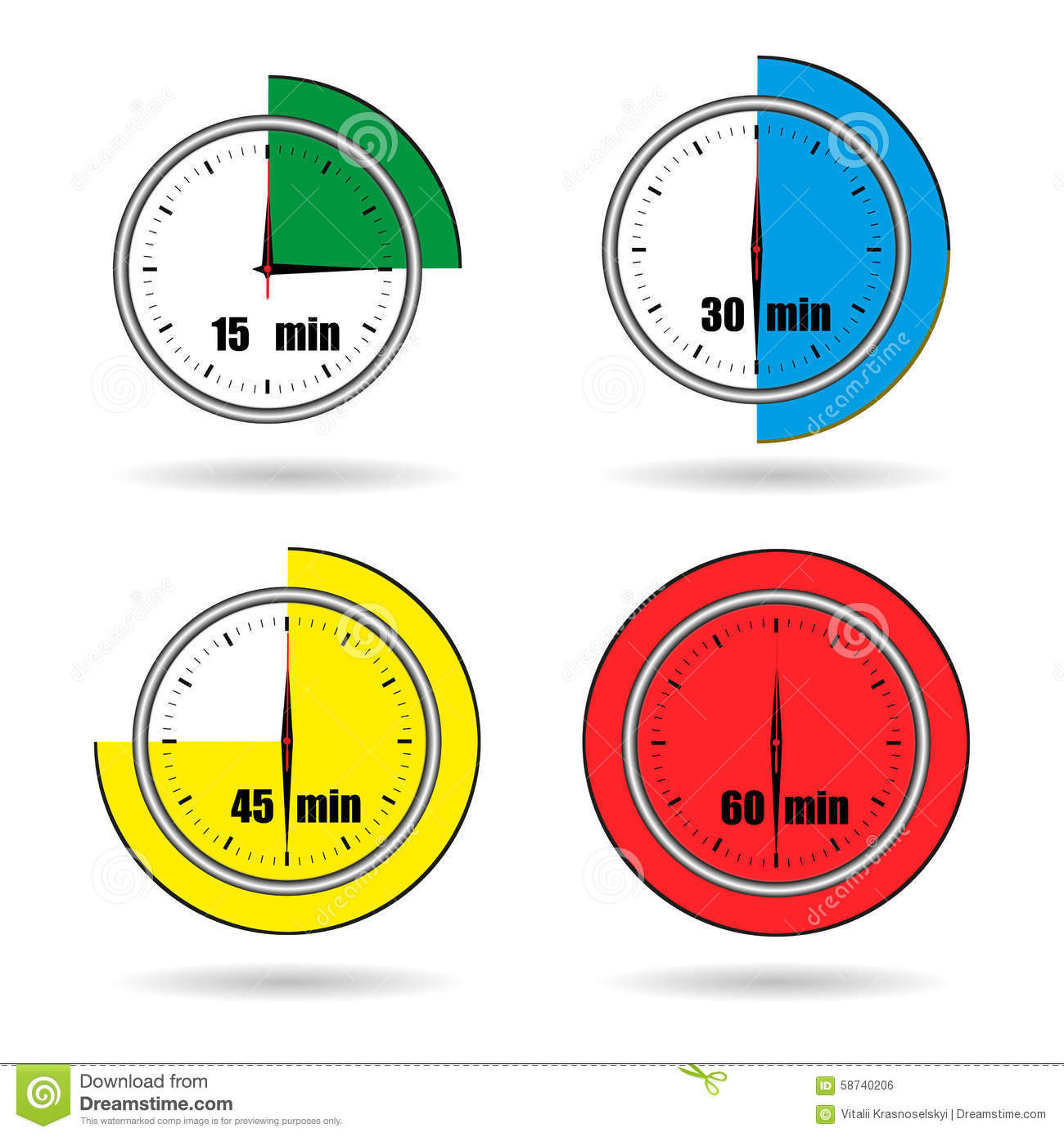 Clock Icons Stopwatch Time From 15 Minutes To 60 Minutes