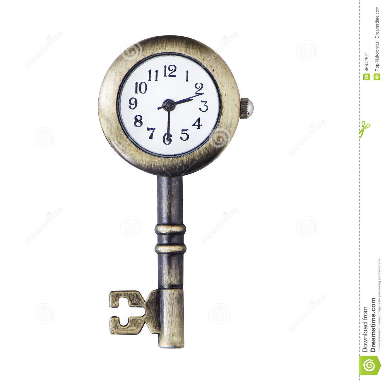 Clock And Key Match Concept Object Isolated Background