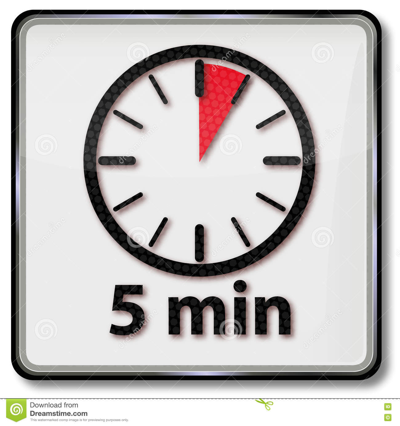 Clock With 5 Minutes Stock Vector Illustration Of