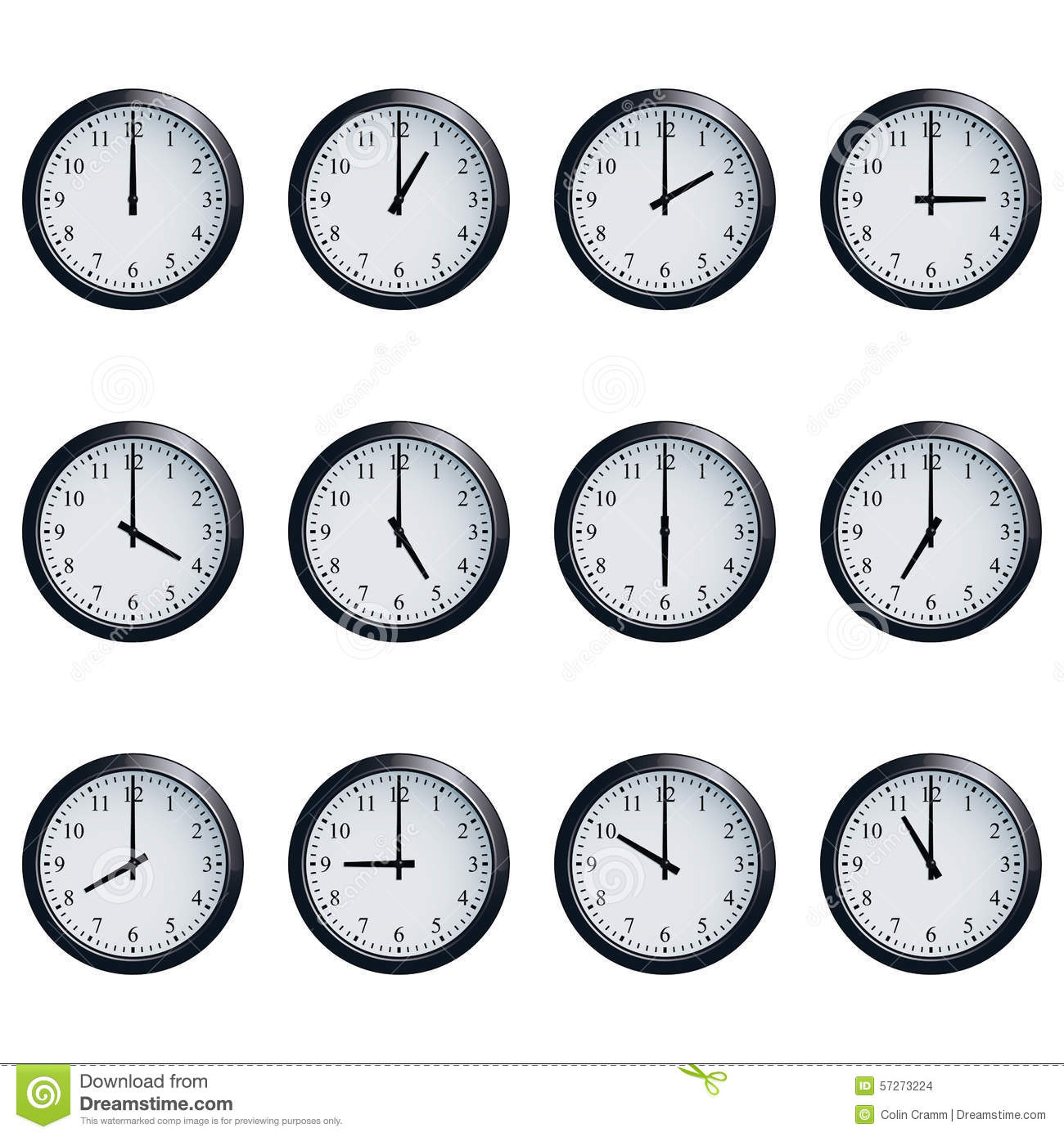 Clock Set Timed At Each Hour On White Background Stock