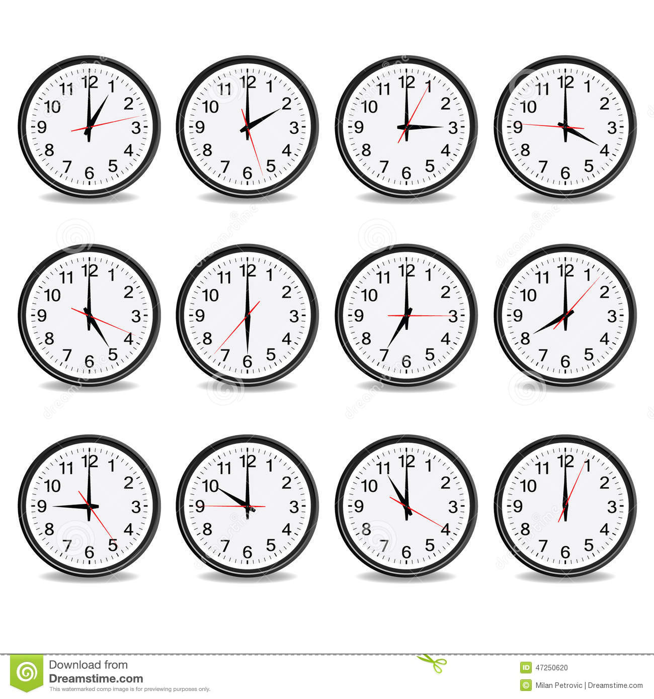 Clock That Show Every Hour Vector Stock Vector