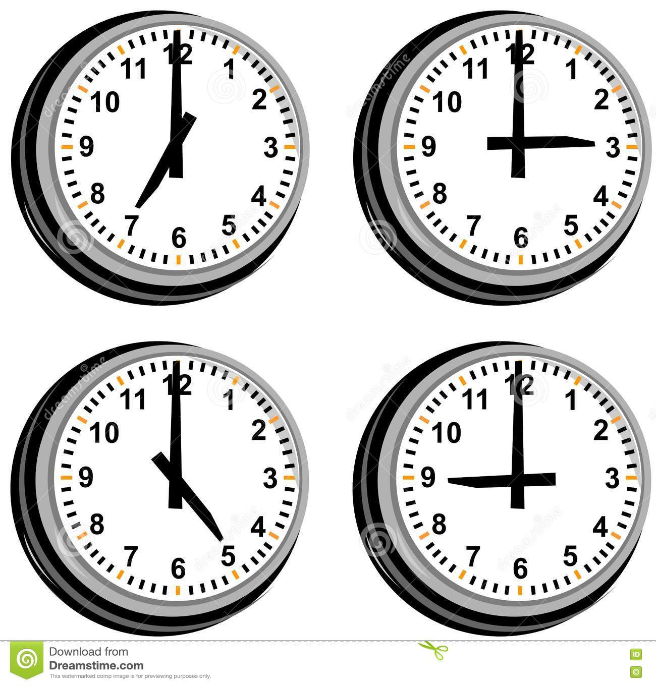 Clock Showing Different Times Stock Photography