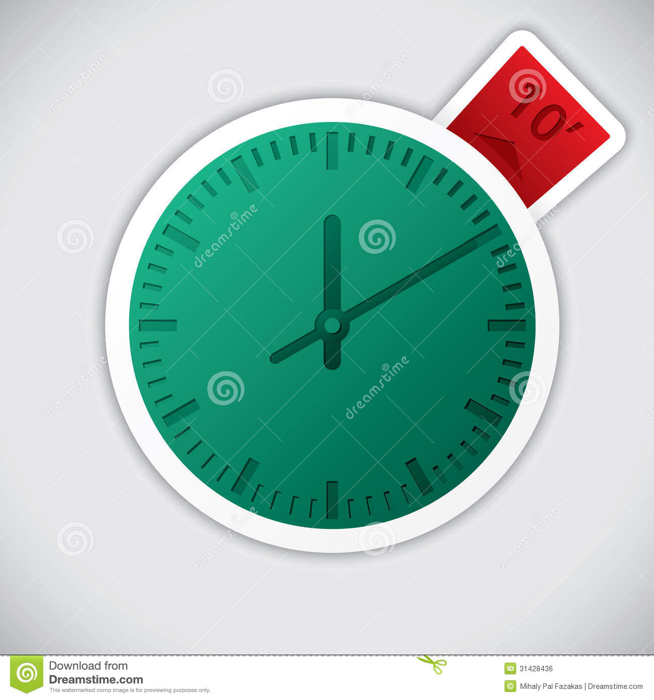 Clock Sticker With 10 Minute Label Royalty Free Stock