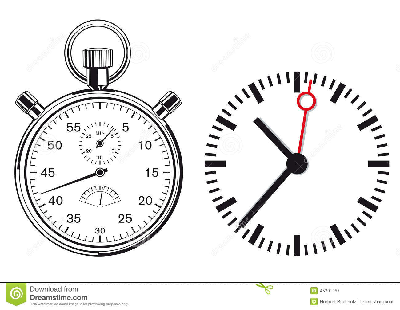 Clock And Stopwatch Stock Vector Illustration Of