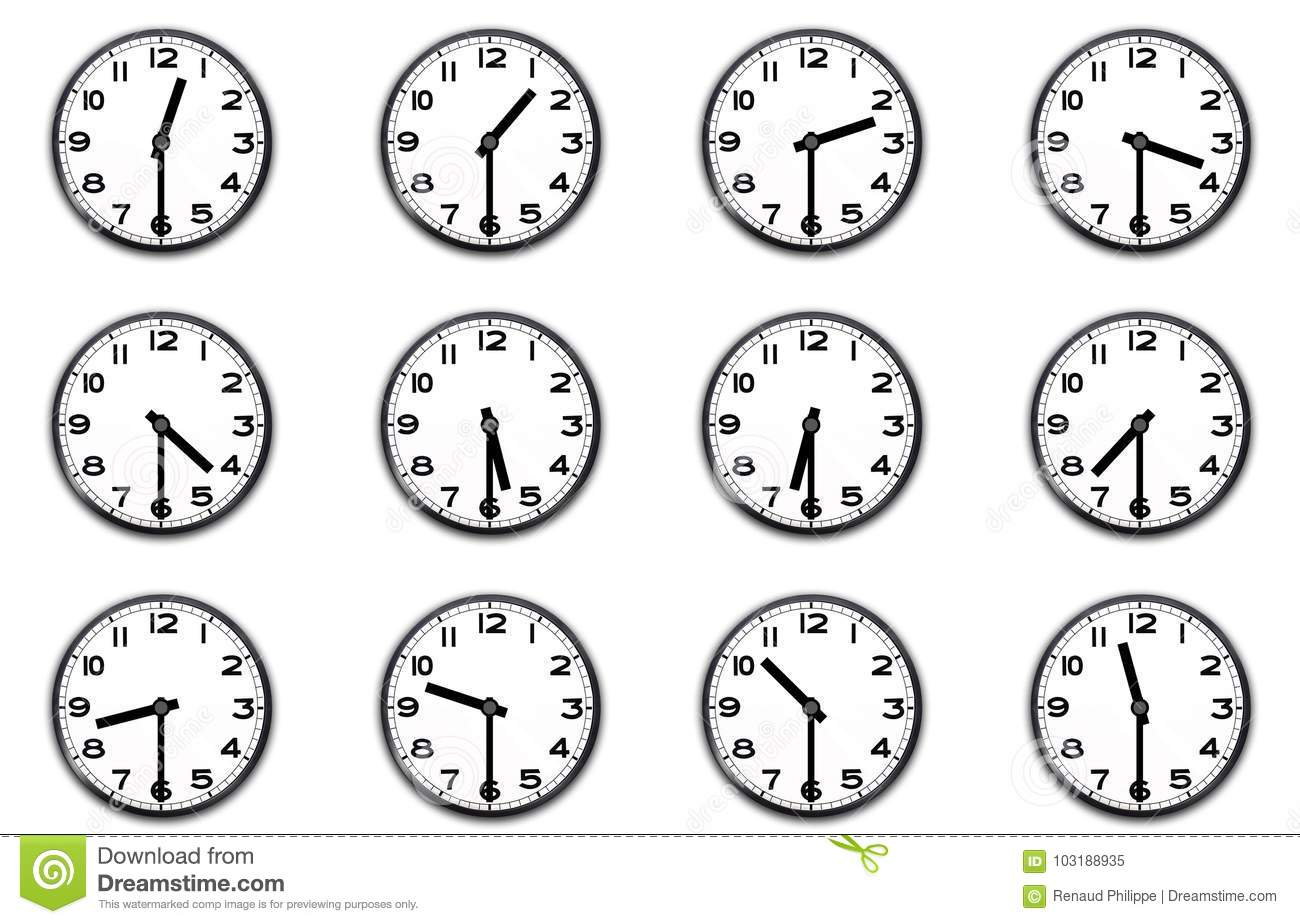 Clocks Indicating The Half Hour Stock Illustration