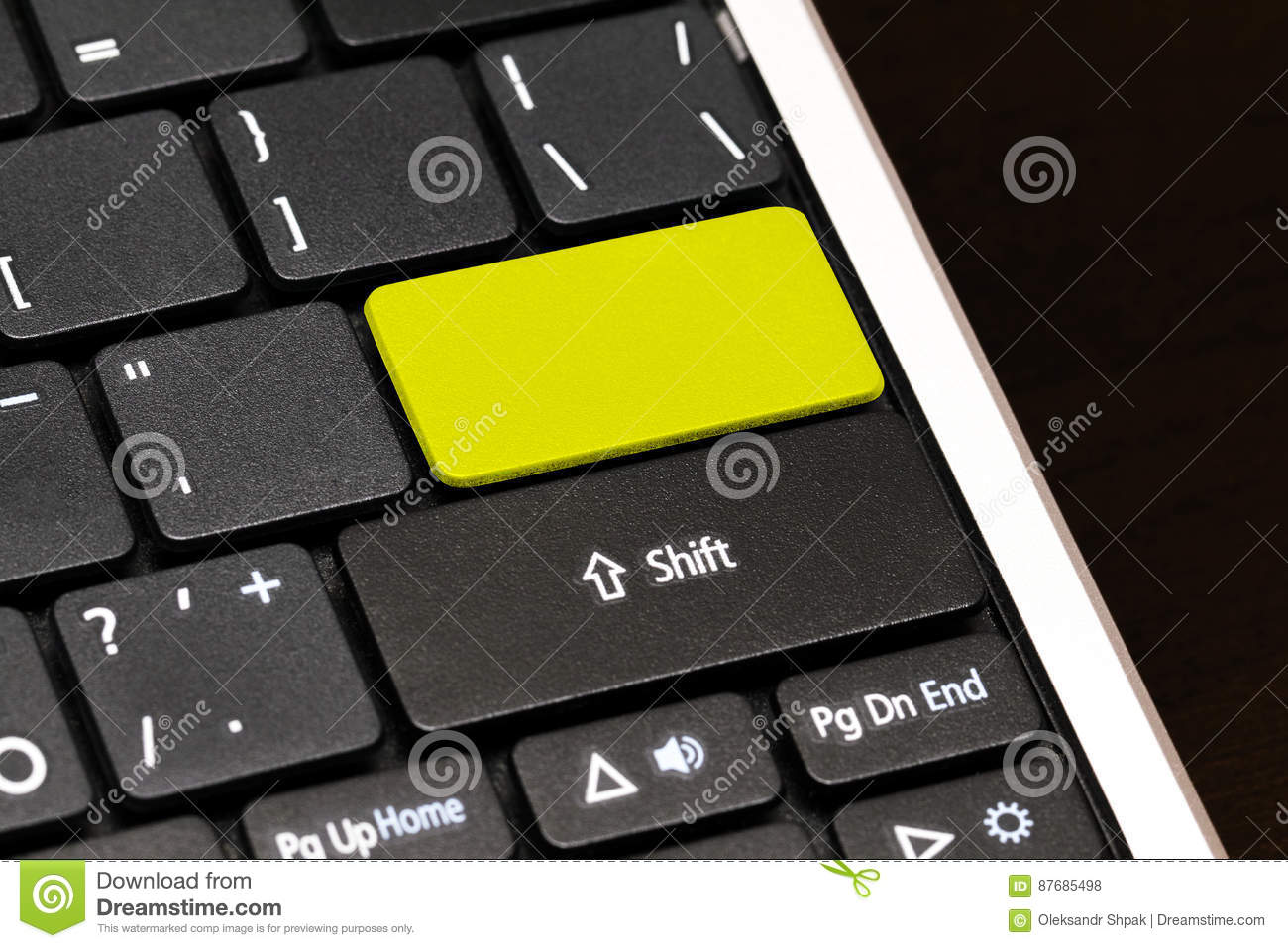 Close Up Blank Button On Laptop Keyboard Stock Photo