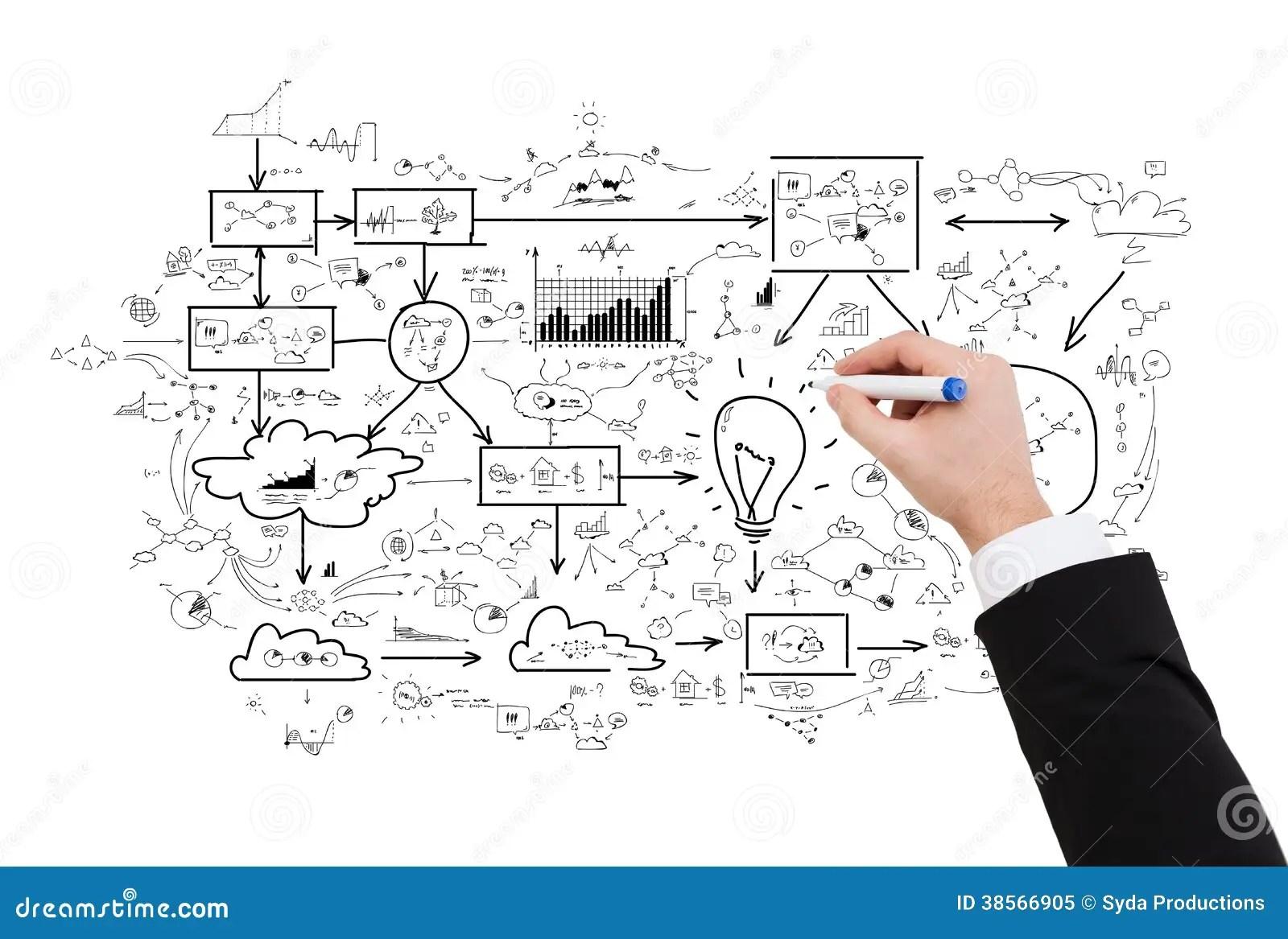 Close Up Of Businessman Drawing Big Plan Stock Illustration