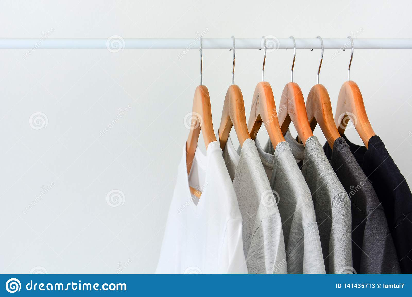 https www dreamstime com close up collection black gray white color monochrome hanging wooden clothes hanger closet clothing rack over image141435713