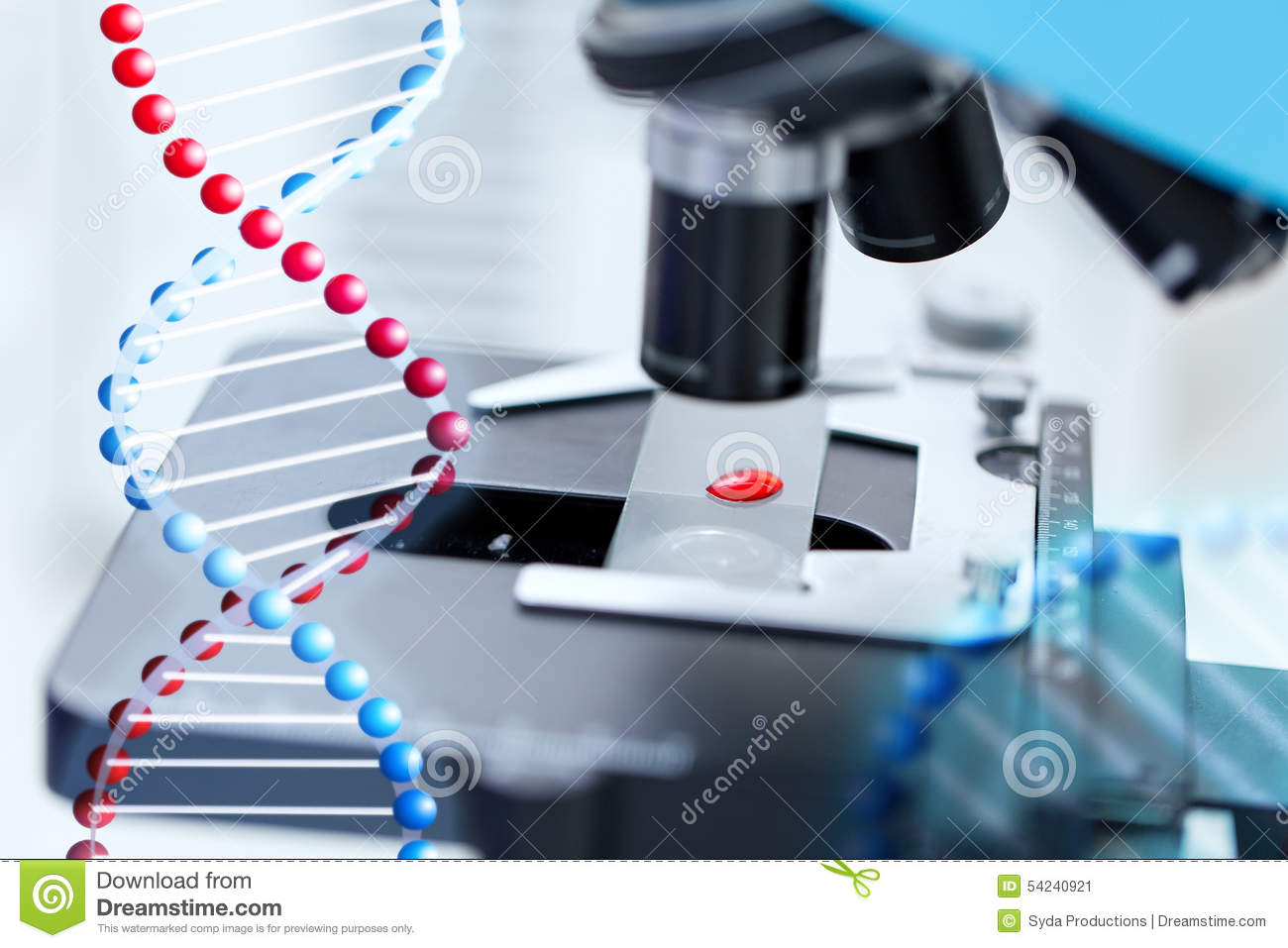 Close Up Of Microscope And Blood Sample In Lab Stock Illustration