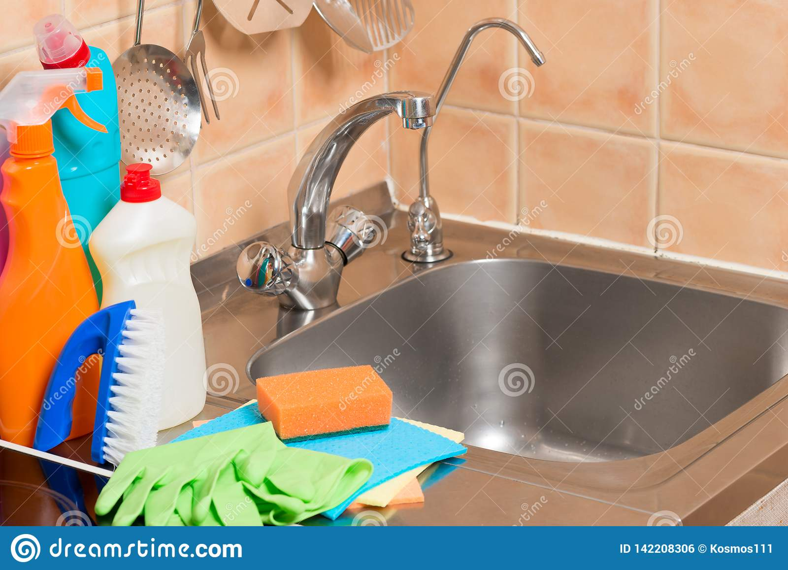 https www dreamstime com close up objects kitchen faucet sink cleaning products image142208306