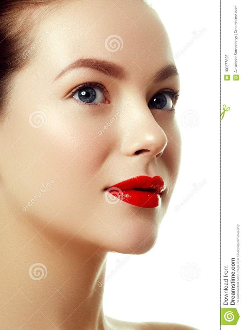 Purity Face With Bright Red Lip Makeup