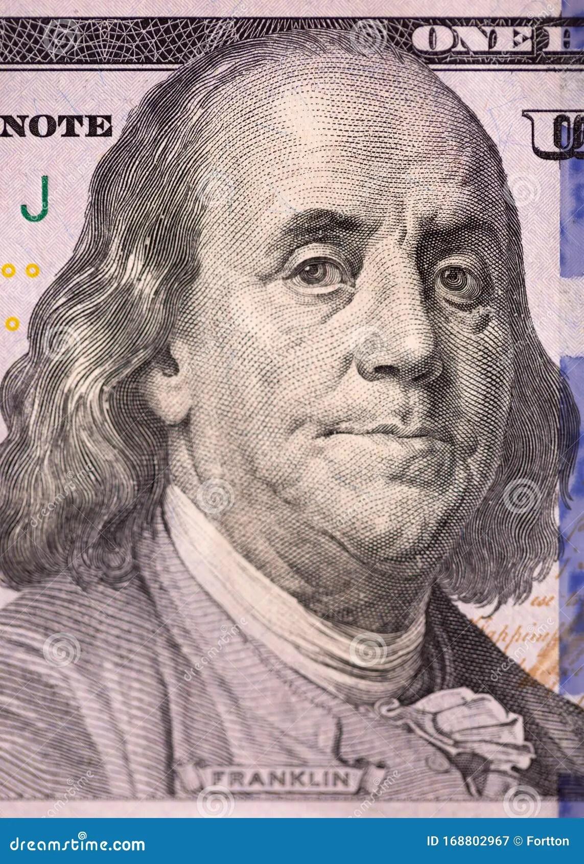 Close Up Portrait Of Benjamin Franklin One Hundred Us