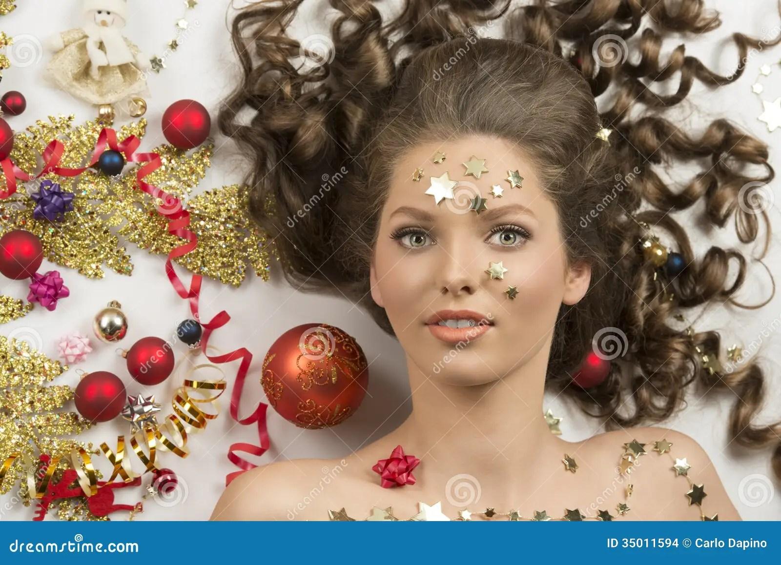 Close Up Shoot Of Christmas Woman Stock Photo Image