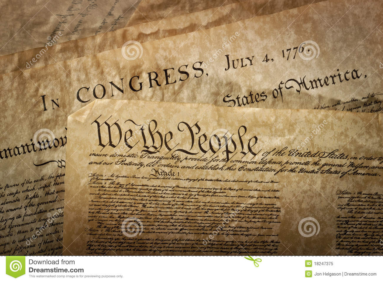 Close Up Of The U S Constitution Stock Image