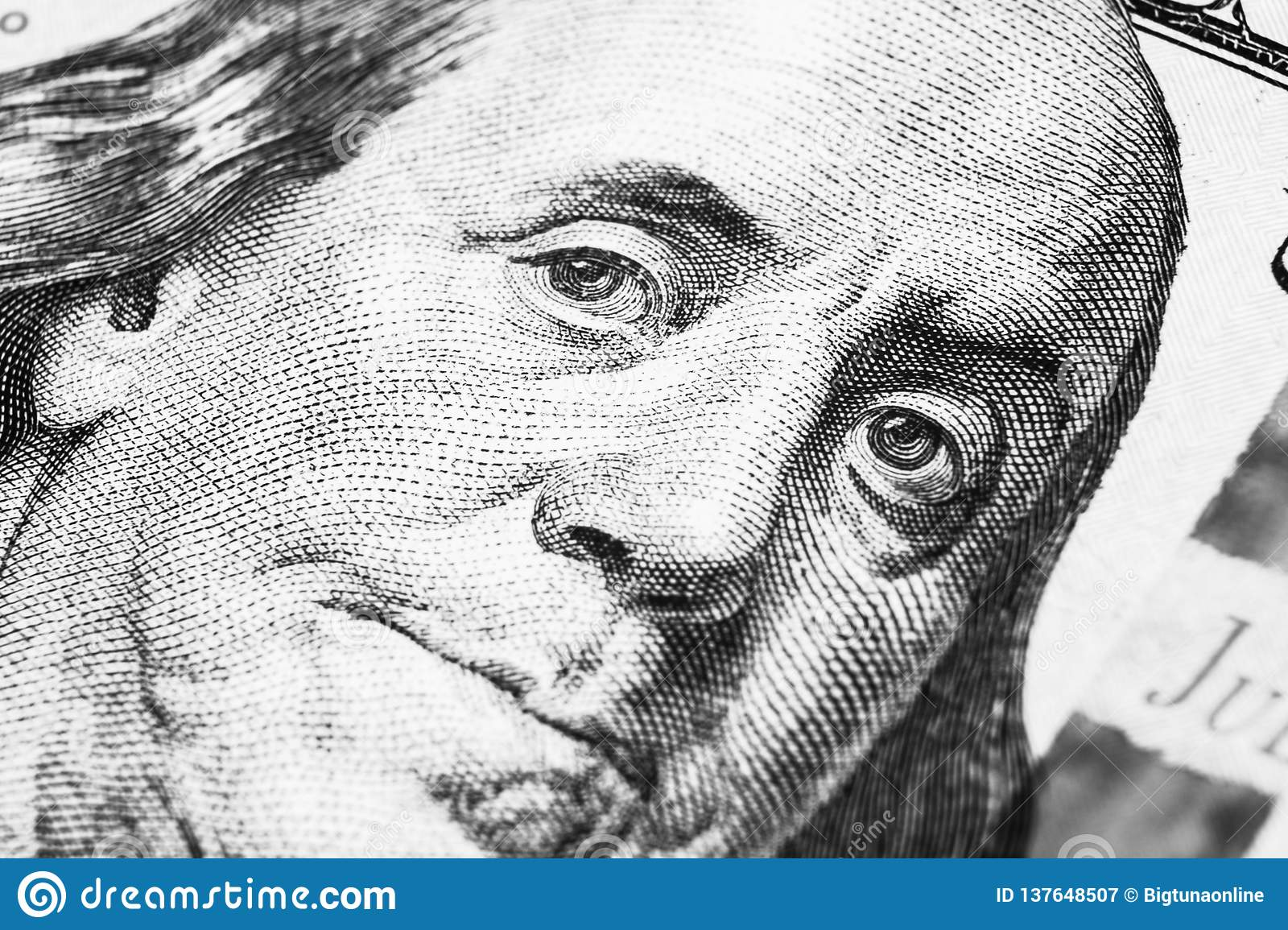Close Up View Portrait Of Benjamin Franklin On The One