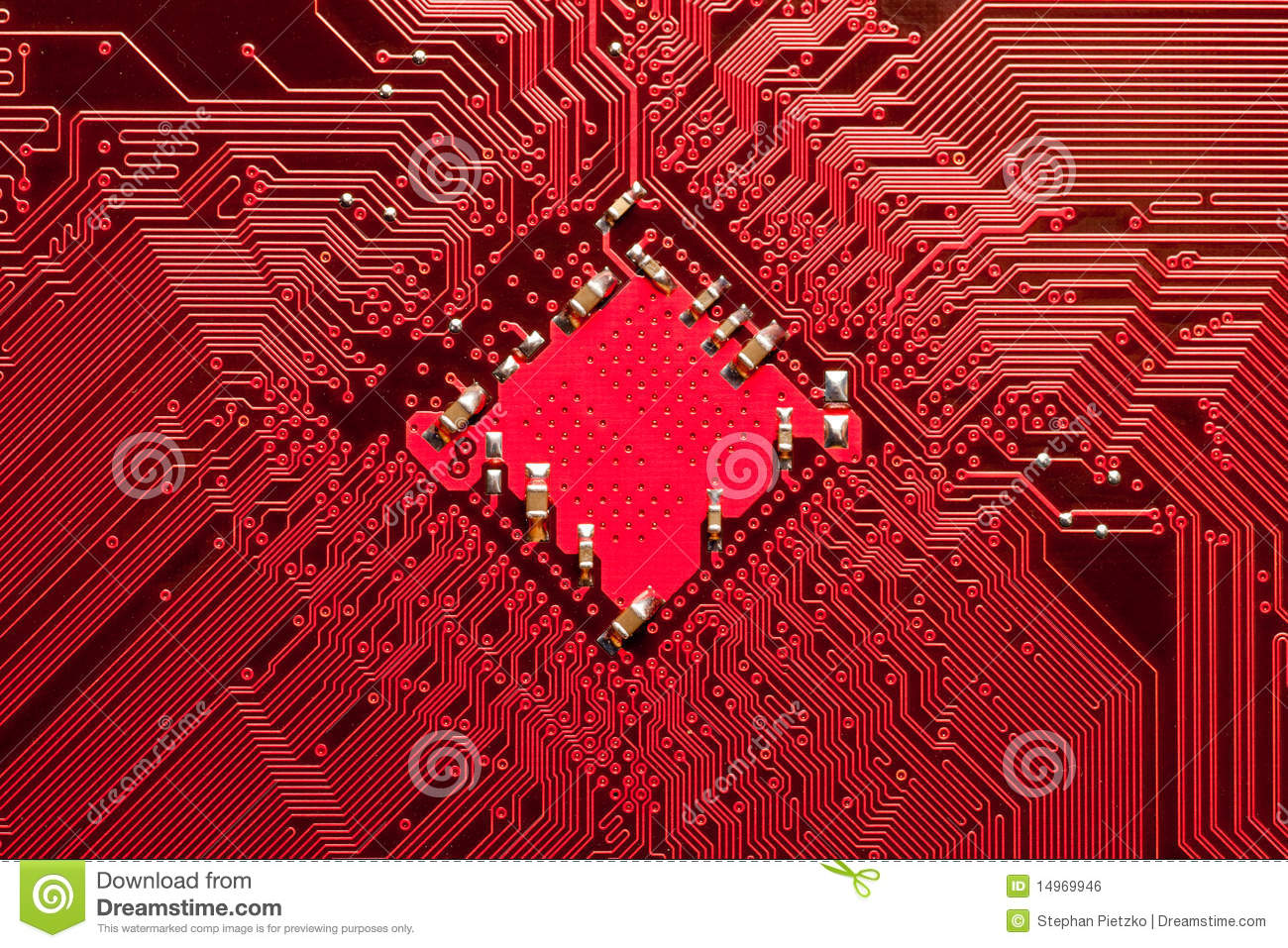 Closeup Of Computer Circuit Board In Red Royalty Free