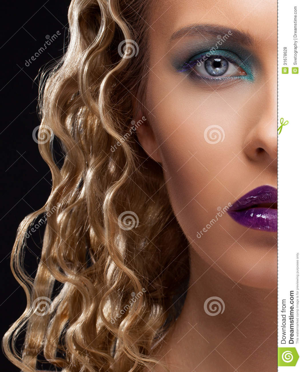 Closeup Half Face Portrait Of Girl Royalty Free Stock