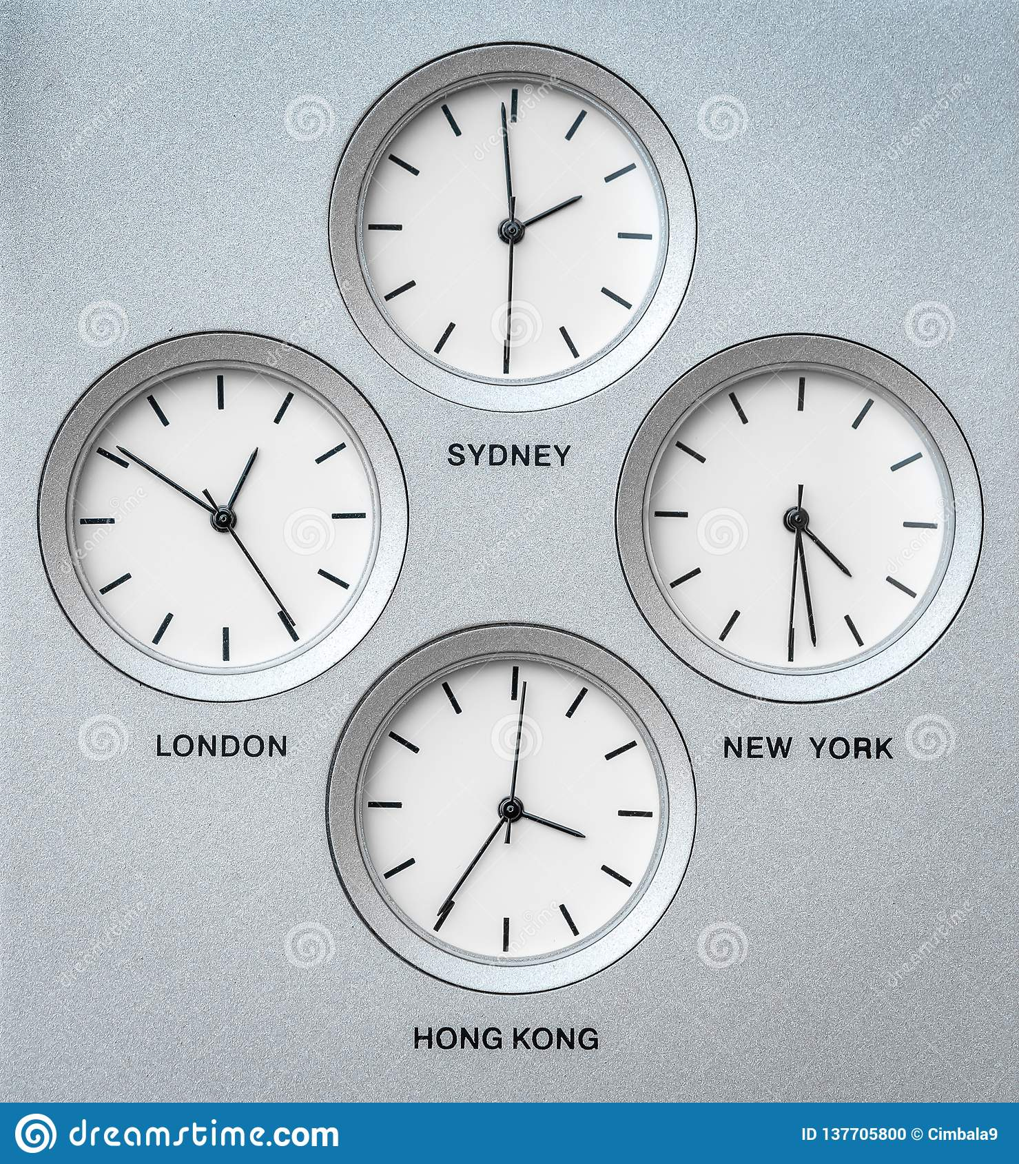 International Clocks With 4 Different Time Zones Stock