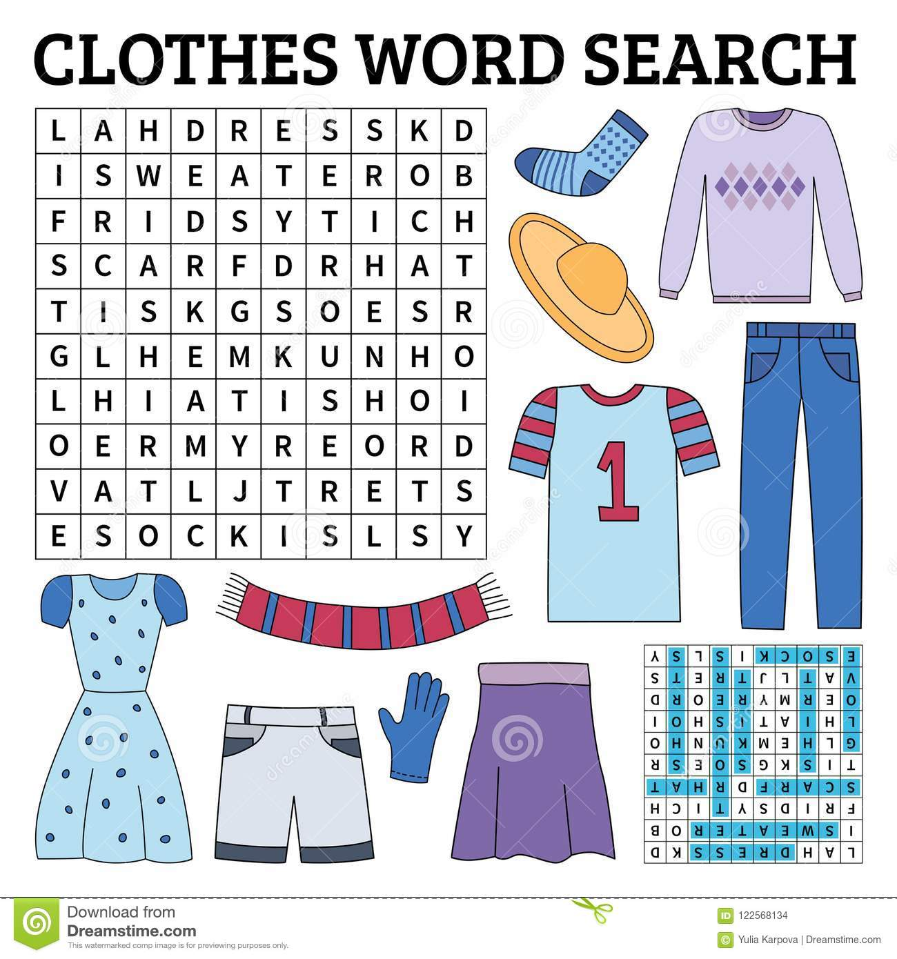 Clothes Word Search Game For Kids Stock Vector