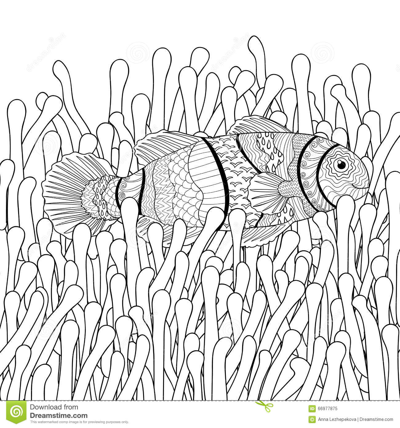 Clown Fish In Sea Anemones With High Details Stock Vector