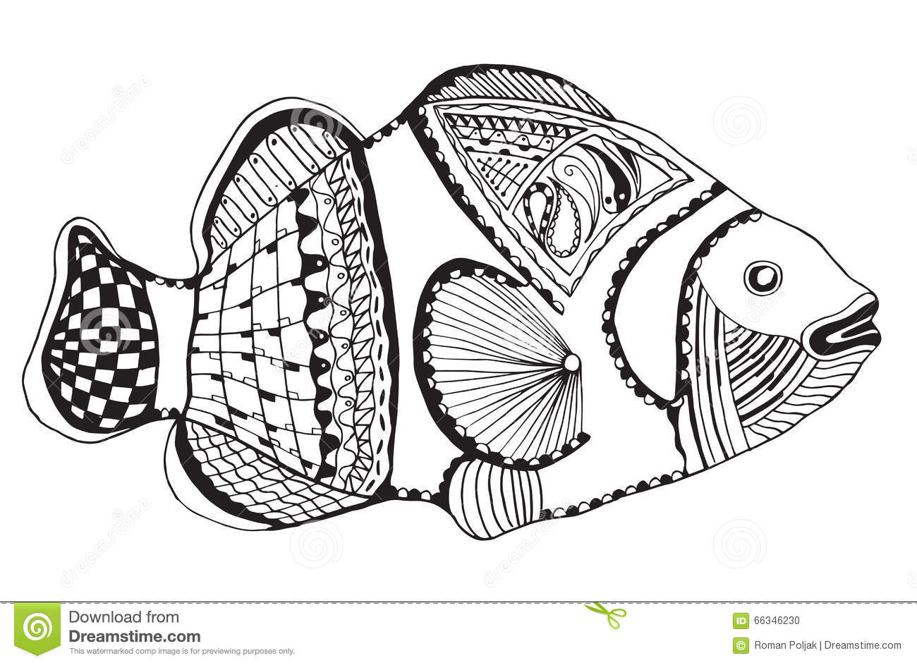 Clownfish Zentangle Stylized Vector Illustration