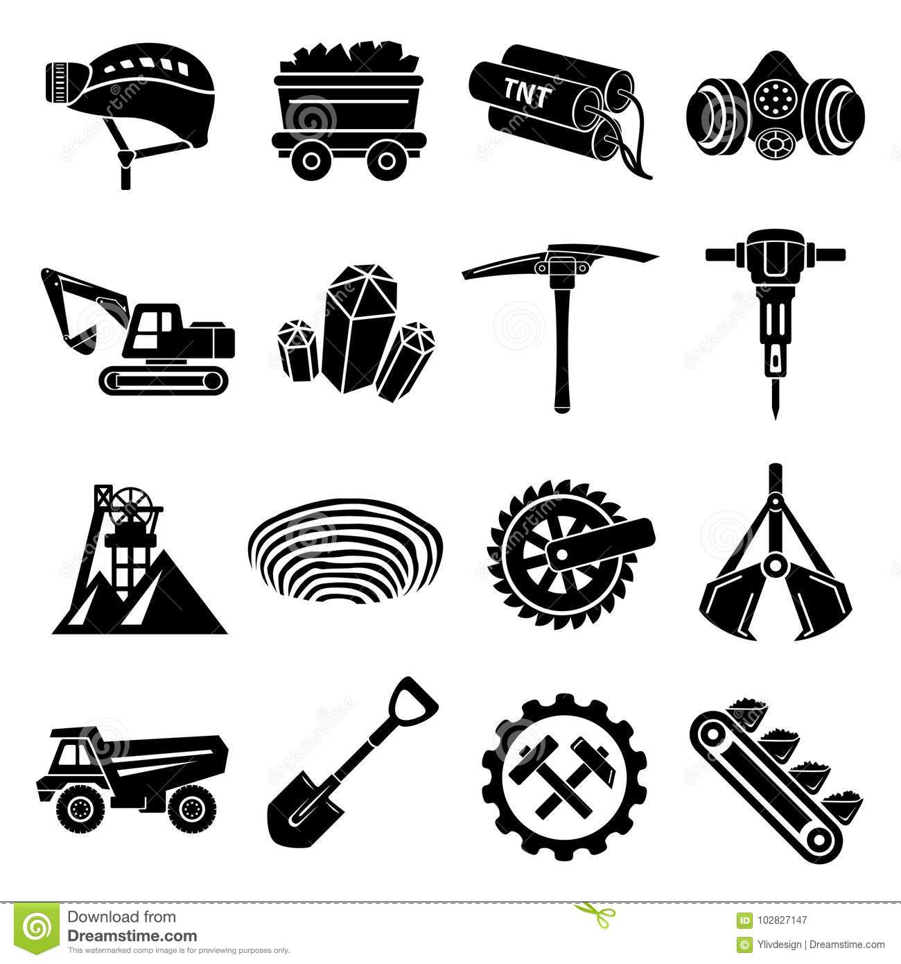 Coal Mine Icons Set Simple Style Stock Vector